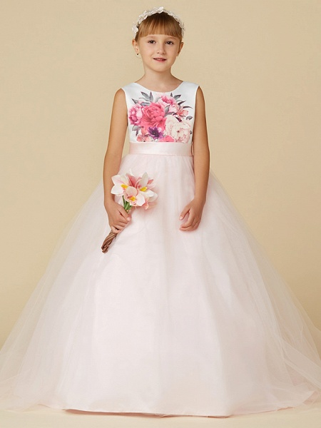 Princess Sweep / Brush Train Wedding / Birthday / Pageant Flower Girl Dresses - Satin / Tulle Sleeveless Jewel Neck With Sash / Ribbon / Print_1