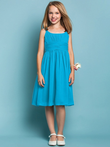Sheath / Column Straps Knee Length Chiffon Junior Bridesmaid Dress With Ruched / Draping / Spring / Summer / Fall / Apple / Hourglass_31