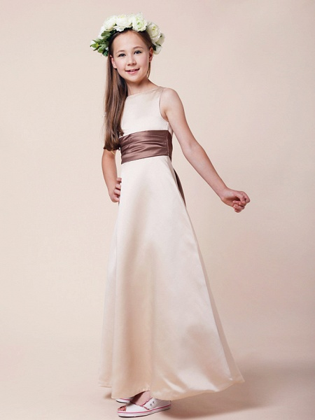 Princess / A-Line Bateau Neck Floor Length Satin Junior Bridesmaid Dress With Sash / Ribbon / Ruched / Spring / Summer / Fall / Winter / Apple_2