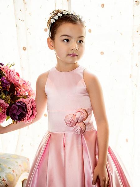 Princess / A-Line Floor Length First Communion Flower Girl Dresses - Satin Sleeveless Jewel Neck With Sash / Ribbon / Flower_7