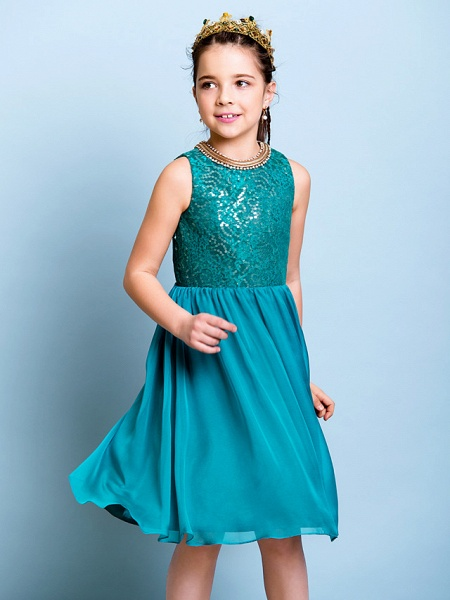 A-Line Jewel Neck Knee Length Chiffon / Sequined Junior Bridesmaid Dress With Sequin_8