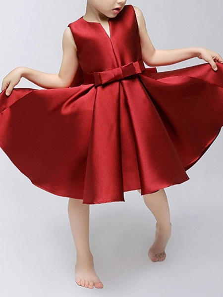 A-Line Knee Length Pageant Flower Girl Dresses - Polyester Sleeveless Jewel Neck With Bow(S)_3