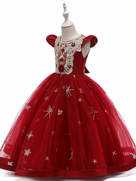 A-Line Ankle Length Wedding / Party / Pageant Flower Girl Dresses - Tulle / Matte Satin / Poly&Cotton Blend Short Sleeve Jewel Neck With Pattern / Print / Solid_13