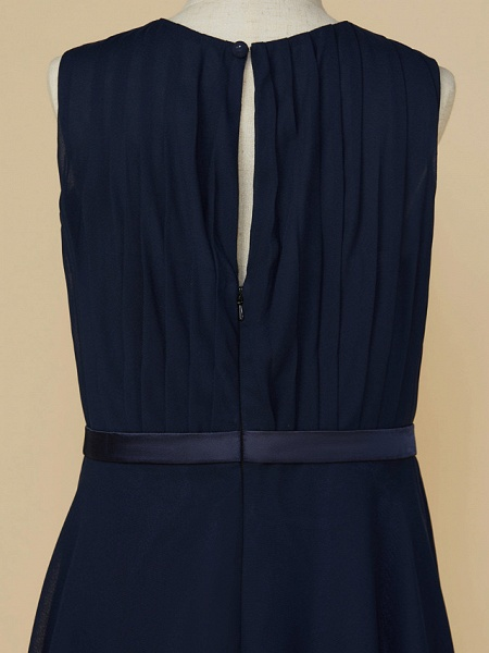A-Line Jewel Neck Ankle Length Chiffon Junior Bridesmaid Dress With Sash / Ribbon / Ruching_5