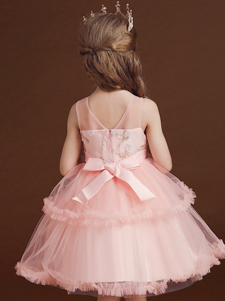 Princess / Ball Gown Knee Length Wedding / Party Flower Girl Dresses - Tulle Sleeveless Jewel Neck With Bow(S) / Tier / Embroidery_5