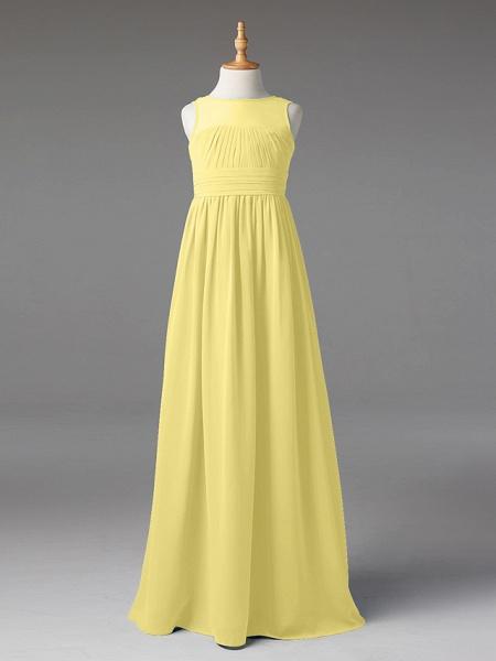 Princess / A-Line Jewel Neck Floor Length Chiffon Junior Bridesmaid Dress With Sash / Ribbon / Pleats_36