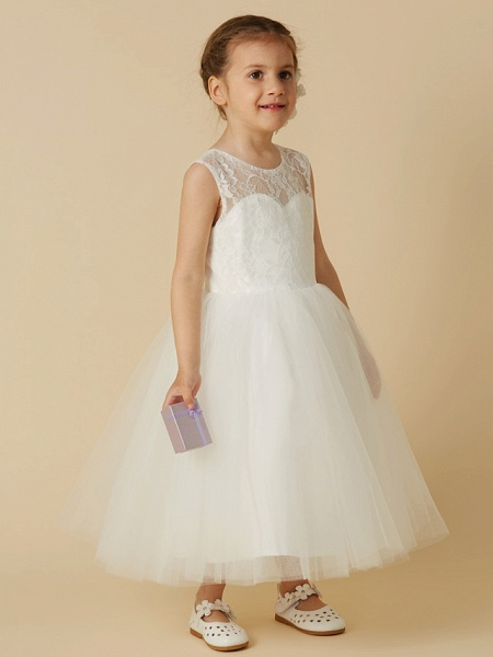 Princess Tea Length Wedding / First Communion Flower Girl Dresses - Lace / Tulle Sleeveless Jewel Neck With Lace_3
