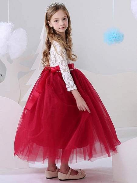 Ball Gown Floor Length Party / Birthday Flower Girl Dresses - Polyester Long Sleeve Jewel Neck With Color Block_3