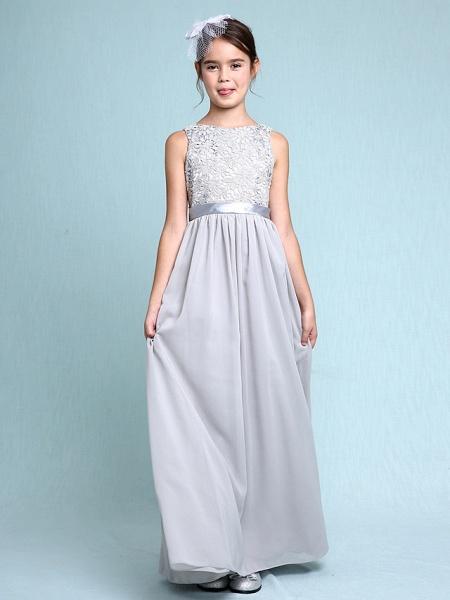 Sheath / Column Bateau Neck Floor Length Chiffon / Lace Junior Bridesmaid Dress With Lace / Natural_5
