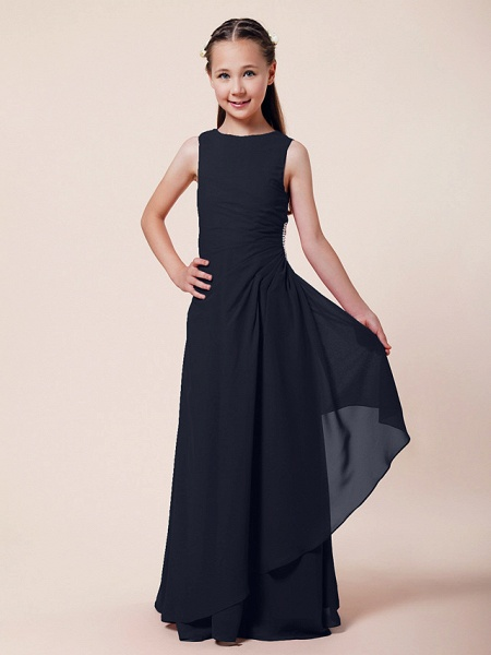 A-Line / Sheath / Column Bateau Neck Floor Length Chiffon Junior Bridesmaid Dress With Beading / Side Draping / Spring / Summer / Fall / Winter / Wedding Party_32