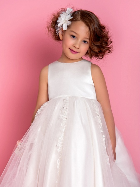 Princess / A-Line Tea Length Wedding / First Communion Flower Girl Dresses - Satin / Tulle Sleeveless Jewel Neck With Beading / Appliques / Spring / Summer / Fall / Winter_4