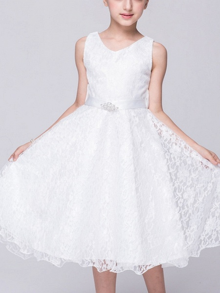 A-Line V Neck Knee Length Lace Junior Bridesmaid Dress With Sash / Ribbon_4