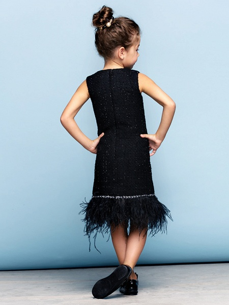 A-Line Knee Length Party / Holiday / Cocktail Party Flower Girl Dresses - Cotton Sleeveless Jewel Neck With Crystals / Mini Me_7