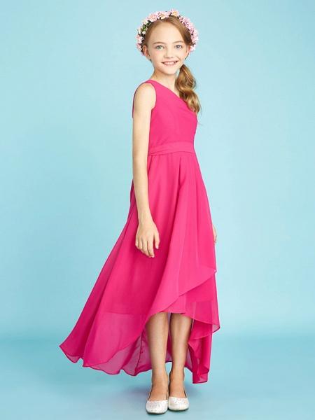 A-Line One Shoulder Asymmetrical Chiffon Junior Bridesmaid Dress With Sash / Ribbon / Bow(S) / Side Draping / Natural_4