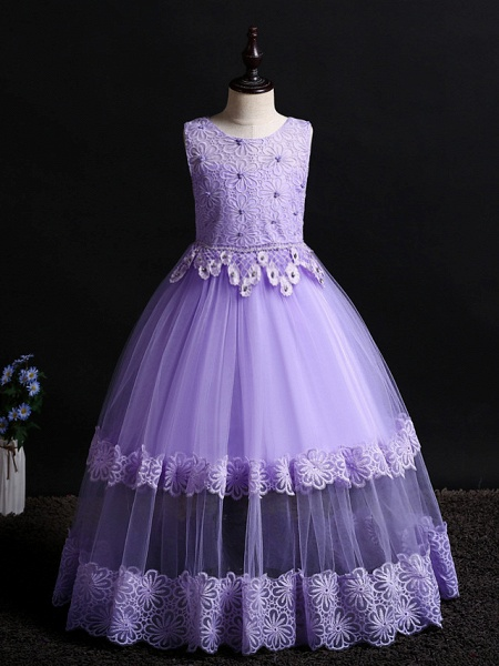 Princess Floor Length Wedding / First Communion / Pageant Flower Girl Dresses - Lace / Tulle Sleeveless Jewel Neck With Appliques / Solid_8