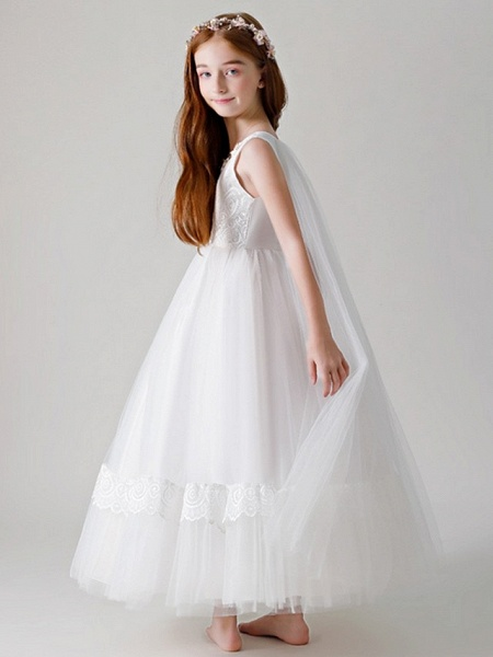 Ball Gown Round Floor Length Tulle Junior Bridesmaid Dress With Crystals / Appliques_2