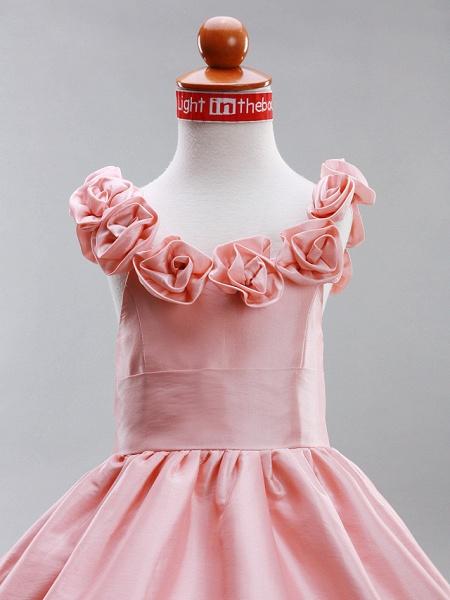 A-Line / Princess Floor Length Flower Girl Dress - Taffeta Sleeveless Scoop Neck With Draping / Flower By Lan Ting Bride? / Spring / Summer / Fall / Winter / Wedding Party_2