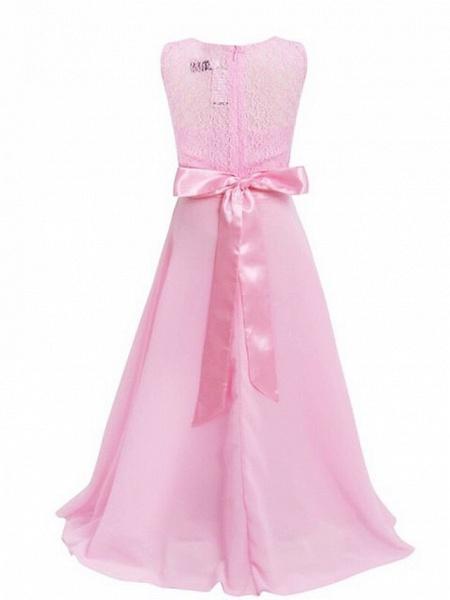 A-Line Floor Length Wedding / Party Flower Girl Dresses - Chiffon / Lace Sleeveless Jewel Neck With Sash / Ribbon_7
