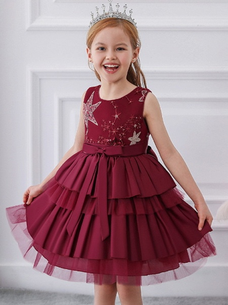 Ball Gown Knee Length Wedding / Party Flower Girl Dresses - Tulle / Mikado Sleeveless Jewel Neck With Bow(S) / Tier / Paillette_1