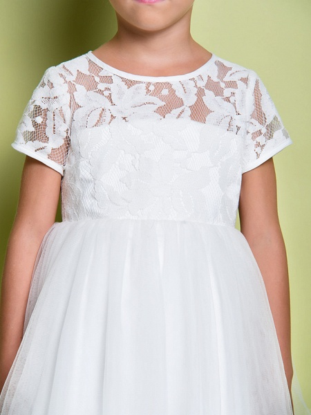 A-Line Tea Length Wedding / First Communion Flower Girl Dresses - Lace / Tulle Short Sleeve Jewel Neck With Lace_7