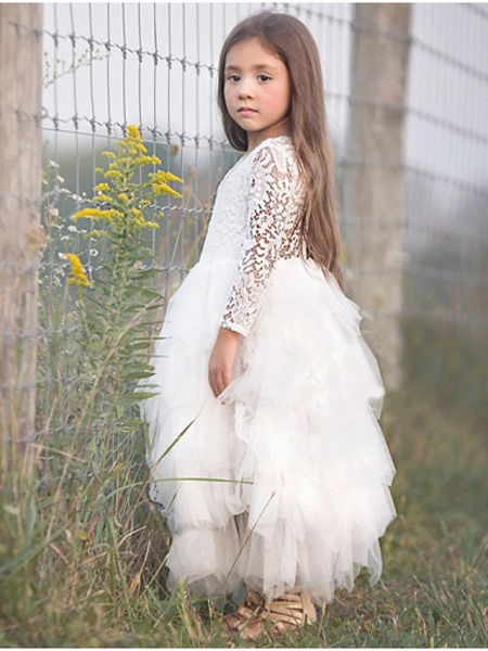 Princess / Ball Gown Floor Length Wedding / Party Flower Girl Dresses - Lace / Tulle Long Sleeve Jewel Neck With Bow(S)_2