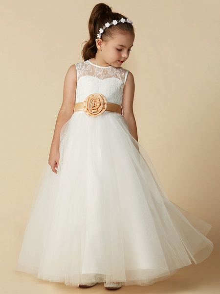 Princess Ankle Length Wedding / First Communion Flower Girl Dresses - Lace / Tulle Sleeveless Jewel Neck With Sash / Ribbon / Bow(S) / Flower_6