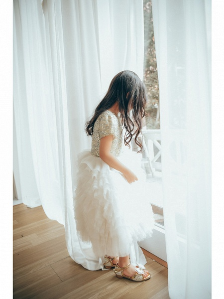 Ball Gown Ankle Length Wedding / Birthday / Pageant Flower Girl Dresses - Tulle / Sequined Short Sleeve Jewel Neck With Paillette_7
