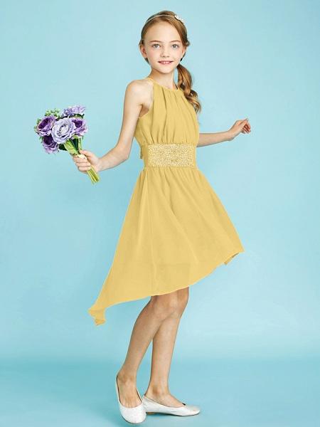 Sheath / Column Jewel Neck Asymmetrical Chiffon Junior Bridesmaid Dress With Sequin / Natural_40
