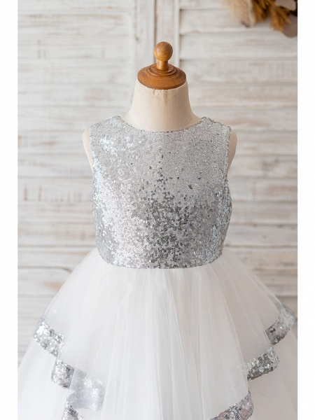 Ball Gown Knee Length Wedding / Birthday Flower Girl Dresses - Tulle / Sequined Sleeveless Jewel Neck With Bow(S)_3