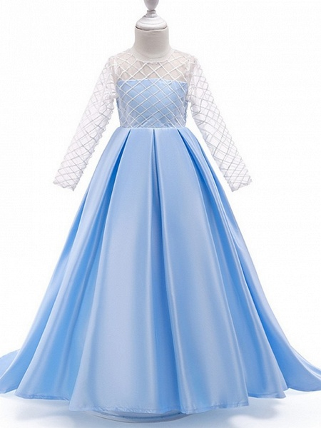 A-Line Round Court Train Cotton Junior Bridesmaid Dress With Bow(S) / Pleats_3