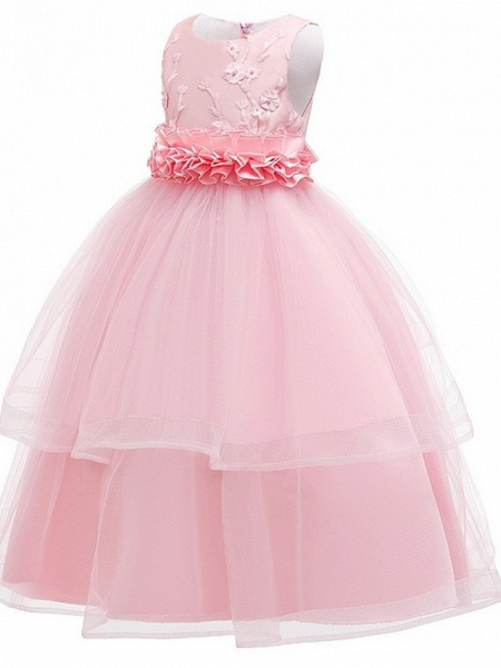 Princess Round Floor Length Cotton Junior Bridesmaid Dress With Bow(S) / Appliques_5