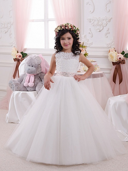 Princess Floor Length Wedding / Birthday / First Communion Flower Girl Dresses - Lace / Tulle / Cotton Sleeveless Jewel Neck With Lace / Appliques / Crystals / Rhinestones_1