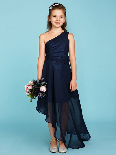 A-Line One Shoulder Asymmetrical Chiffon Junior Bridesmaid Dress With Side Draping / Wedding Party_4