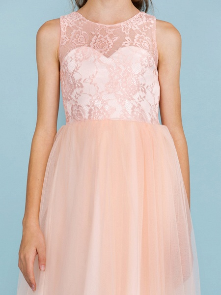 Princess / A-Line Crew Neck Floor Length Lace / Tulle Junior Bridesmaid Dress With Pleats / Wedding Party / See Through_7
