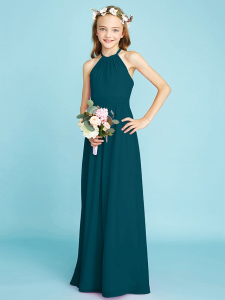 A-Line Halter Neck Floor Length Chiffon Junior Bridesmaid Dress With Sash / Ribbon / Natural_36