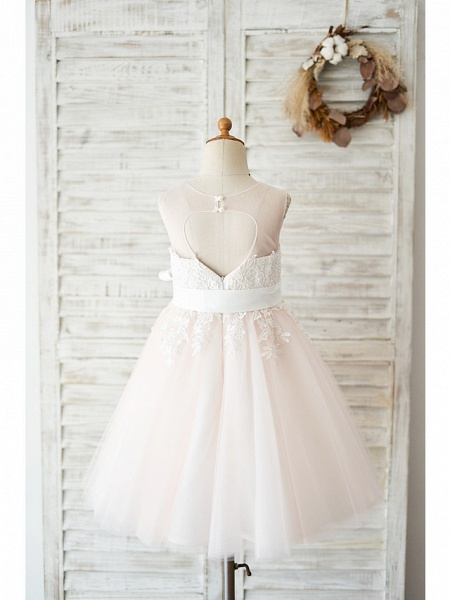 Ball Gown Knee Length Wedding / Party Flower Girl Dresses - Lace / Tulle Sleeveless Jewel Neck With Belt_2