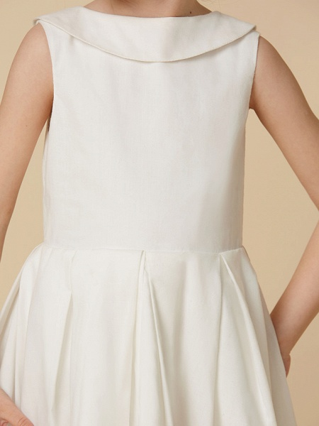 A-Line Knee Length Wedding / First Communion Flower Girl Dresses - Cotton Sleeveless Jewel Neck With Pearls_6