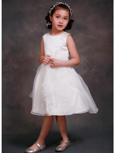 A-Line Tea Length Wedding / Party Flower Girl Dresses - Organza / Satin Sleeveless Jewel Neck With Tier_1
