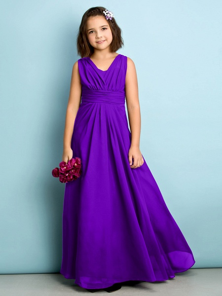 A-Line V Neck Floor Length Chiffon Junior Bridesmaid Dress With Criss Cross / Natural / Mini Me_36