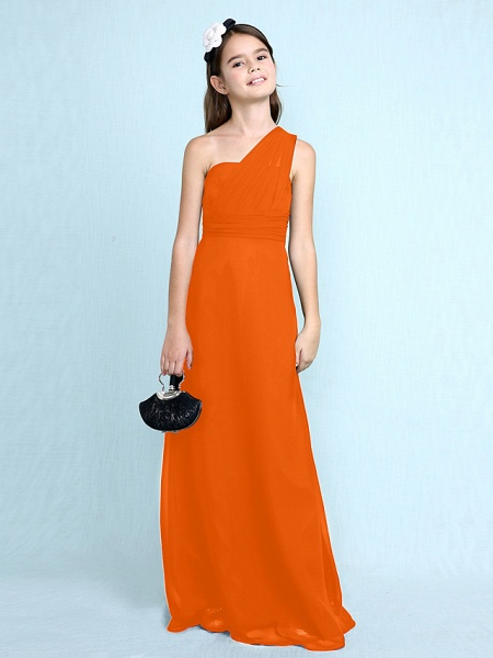 Sheath / Column One Shoulder Floor Length Chiffon Junior Bridesmaid Dress With Side Draping / Natural_19