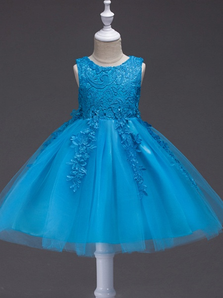 Princess Knee Length Party / Pageant Flower Girl Dresses - Tulle / Polyester Sleeveless Jewel Neck With Lace / Appliques_1