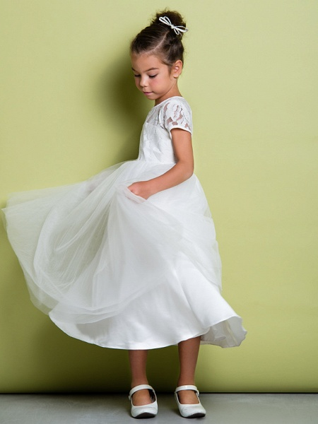 A-Line Tea Length Wedding / First Communion Flower Girl Dresses - Lace / Tulle Short Sleeve Jewel Neck With Lace_5