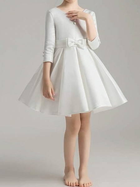 A-Line Knee Length First Communion Flower Girl Dresses - Polyester 3/4 Length Sleeve V Neck With Bow(S) / Pleats_8