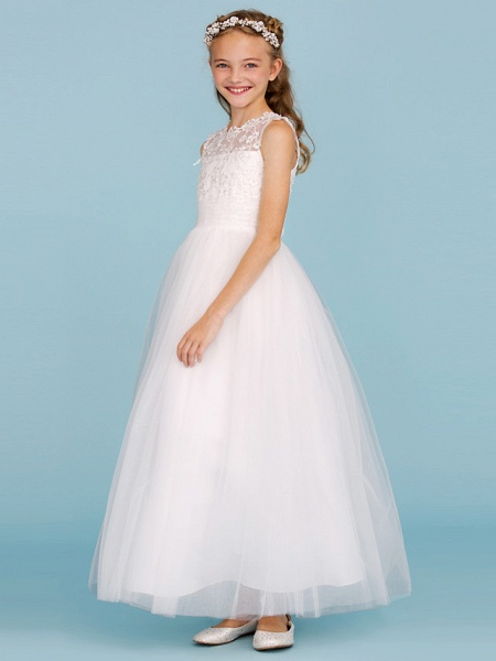 Princess / A-Line Crew Neck Ankle Length Lace / Tulle Junior Bridesmaid Dress With Sash / Ribbon / Wedding Party_3
