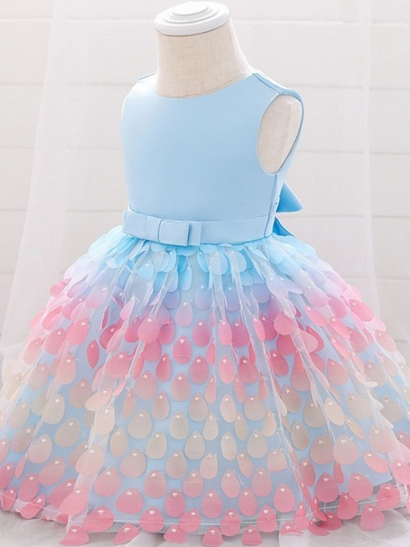 Princess / Ball Gown Knee Length Wedding / Party Flower Girl Dresses - Satin / Tulle Sleeveless Jewel Neck With Sash / Ribbon / Bow(S)_5