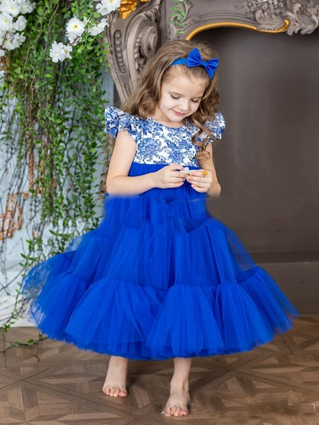 Princess / A-Line Ankle Length Party / Birthday Flower Girl Dresses - Tulle Short Sleeve Jewel Neck With Pattern / Print / Splicing_2