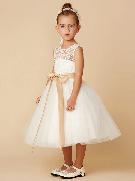 Princess Tea Length Wedding / First Communion Flower Girl Dresses - Lace / Tulle Sleeveless Jewel Neck With Sash / Ribbon / Bow(S)_3