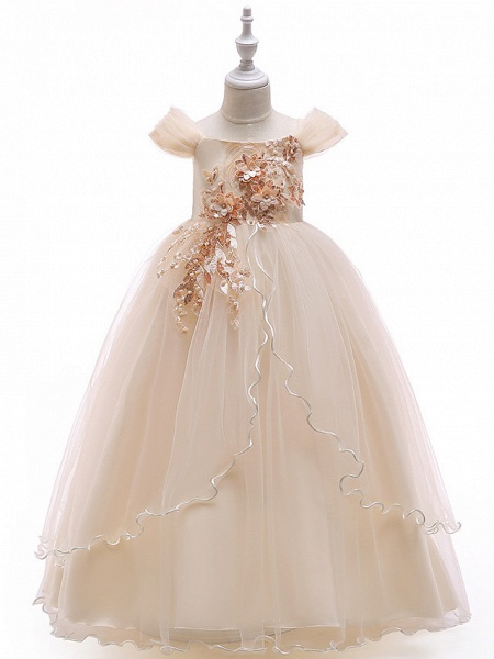 Ball Gown Floor Length Wedding / Party Flower Girl Dresses - Tulle Sleeveless Off Shoulder With Bow(S) / Solid / Tiered_2