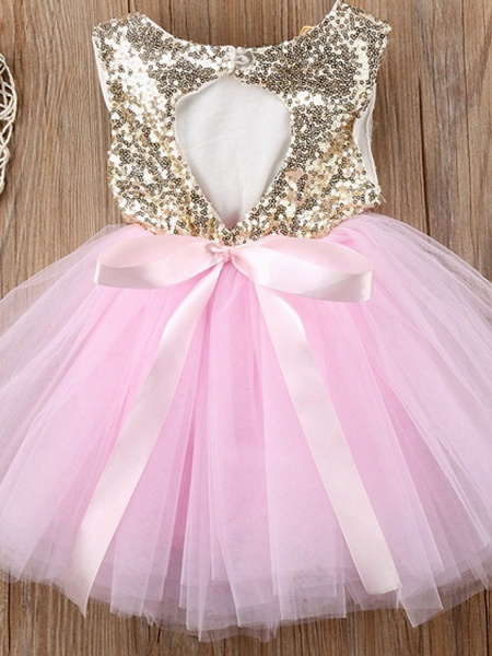 Ball Gown Knee Length Wedding / Party Flower Girl Dresses - Tulle Sleeveless Jewel Neck With Paillette_2