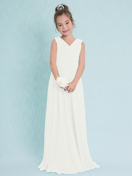 Sheath / Column V Neck Floor Length Chiffon Junior Bridesmaid Dress With Criss Cross / Ruched / Natural_19